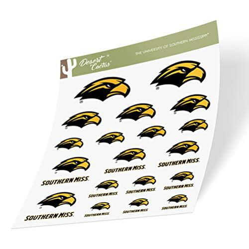 15 Inch Sticker University of Southern Mississippi USM Golden Eagles NCAA Name Logo Vinyl Decal Laptop Water Bottle Car Scrapbook