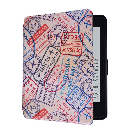HDE Ultra Slim Case for Kindle Paperwhite Auto Sleep Wake Magnetic Cover  Smart Shell for 1st 2nd 3rd Generation Paperwhite (Travel Stamps)