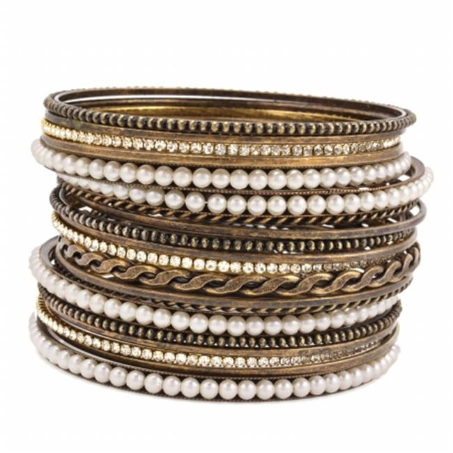 Eshopo 805470362302 Cream Pearl Crystal Set Of 19 Bangle