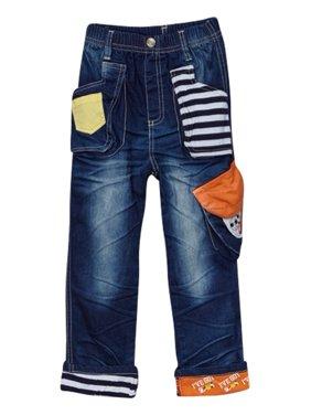 Rock'nStyle Boys Dark Blue Stripe Pockets Patch Denim Pants