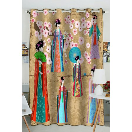 PHFZK Asian Window Curtain, Girl in Retro Costume Window Curtain Blackout Curtain For Bedroom living Room Kitchen Room 52x84 inches One Piece](Asian Curtains)