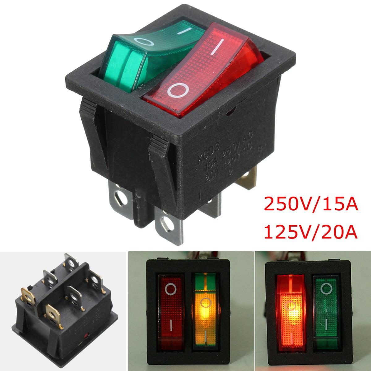 TTBD 5 x Interrupteurs a bascule DPST On//Off 16A//250V 20A//125V AC Illumination rouge