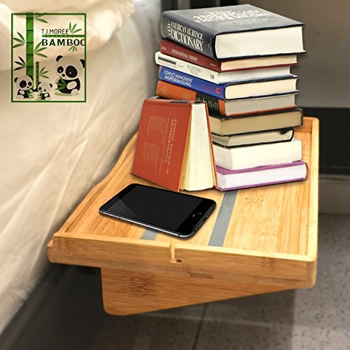 and Lofts|Floating Bed Caddy Organizer|Night Stand Option Perfect for College and Dorms Bunks Large, Espresso Bedside Shelf for Beds