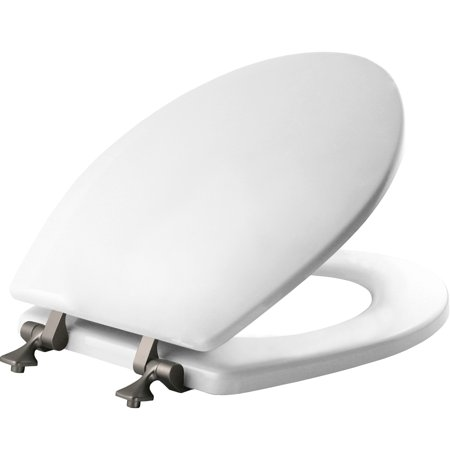 Mayfair Round Enameled Wood Toilet Seat in White with Brushed Nickel Hinge and STA-TITE Round Toilet Seat