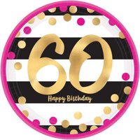 Over the Hill 'Hot Pink and Gold' 60th Birthday Large Paper Plates (8ct)