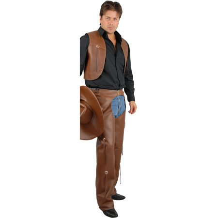 Men's Range Rider Cowboy Costume Brown Faux Leather Chaps and - Cowboy Costume Mens