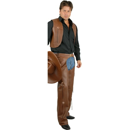 Men's Range Rider Cowboy Costume Brown Faux Leather Chaps and Vest