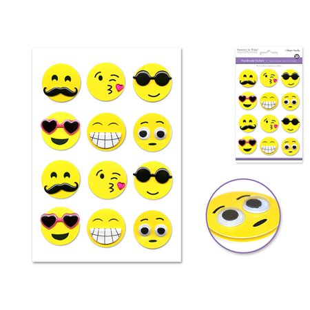 Quasimoon Happy Face Emoji 3D Stickers Icon Messenger DIY (12-PACK) by PaperLanternStore](3d Face Texture Map Halloween)