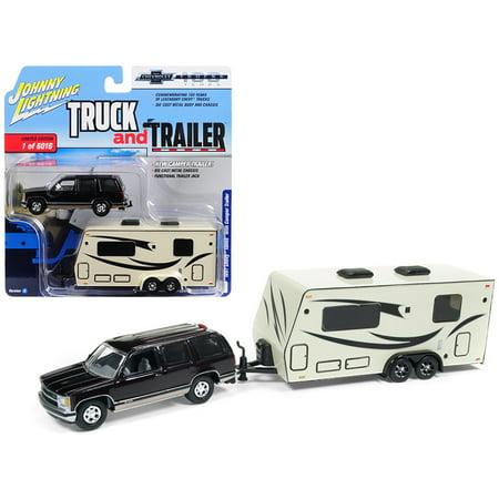 1997 Chevrolet Tahoe Dark Cherry w/ Camper Trailer Ltd Ed 6016 pcs 1/64 Diecast Car by Johnny Lightning