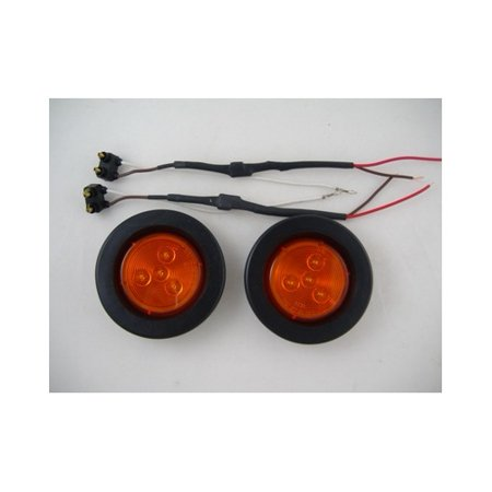 "Amber 2.5"" Round 4 LED Mini Custom Flasher Park Turn Signal Light Kits"