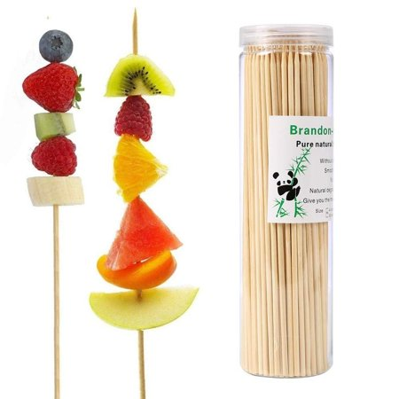 Bamboo Skewers 6 Inch (200 Pcs) Natural BBQ for Shish Kabob, Grill, Appetizer, Fruit, Corn, Chocolate Fountain Sealed -6 Inch - Fruit Kabobs Halloween