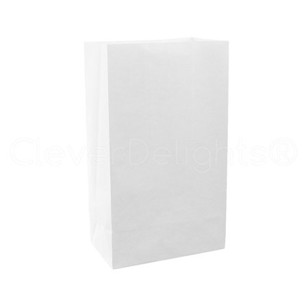 CleverDelights White Luminary Bags - 10 Count - Flame Resistant Paper - White Paper Bags For Luminaries