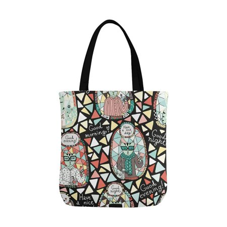HATIART Cat Hipster Reusable Grocery Bags Shopping Bag Canvas Tote Bag Shoulder Bag - image 1 of 3