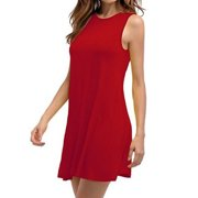 Women's Sleeveless Dresses Summer Casual Loose Plus Size Solid Color Pleated Cotton Dress