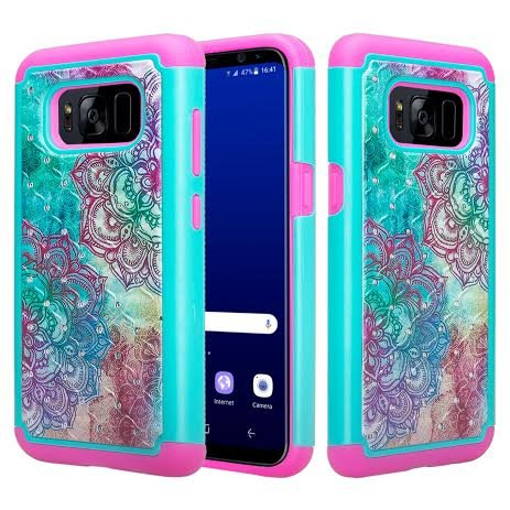 Samsung Galaxy S8 Case - Wydan Hybrid Studded Diamond Rhinestone Case Shock Resistant Cover Rainbow Flower