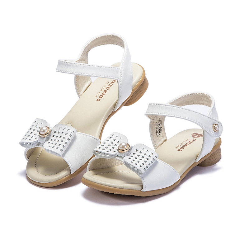 Isbasic Infant Baby Girls Floral Bowknot Sandals Toddler Soft Sole Anti-Slip First Walkers Breathable Closed-Toe Sweet Dress Shoes