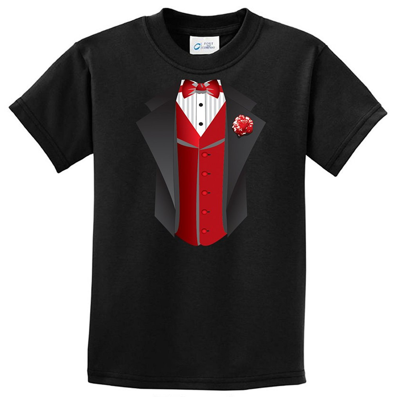 Kids Red Vest Tuxedo Youth T-Shirt - Black