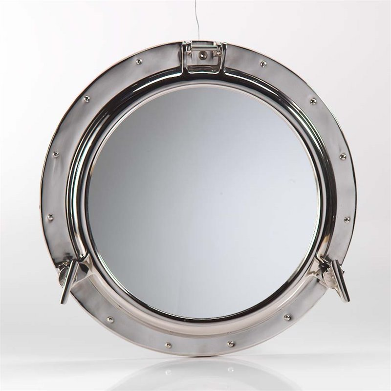 Zodax Round Polished Nickel Porthole Wall Mirror in Silver