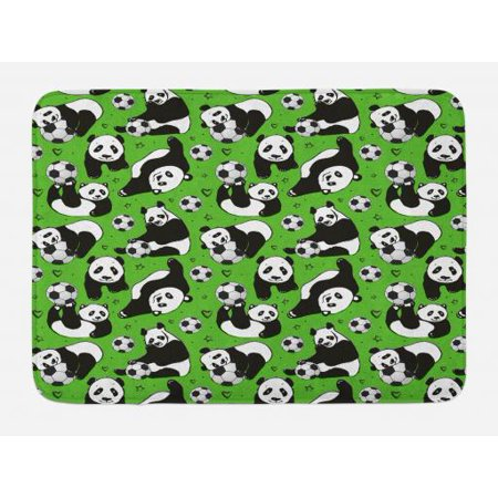Soccer Bath Mat, Funny Panda Animals Playing with Balls Hand Drawn Style Hearts and Stars, Non-Slip Plush Mat Bathroom Kitchen Laundry Room Decor, 29.5 X 17.5 Inches, Lime Green Black White, Ambesonne