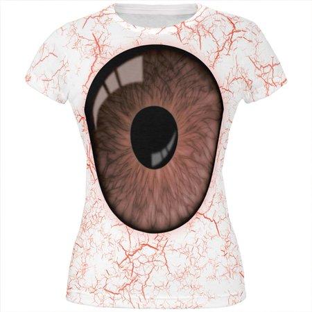 Halloween Brown Creepy Eyeball Costume All Over Juniors T Shirt - Eyeball Costume