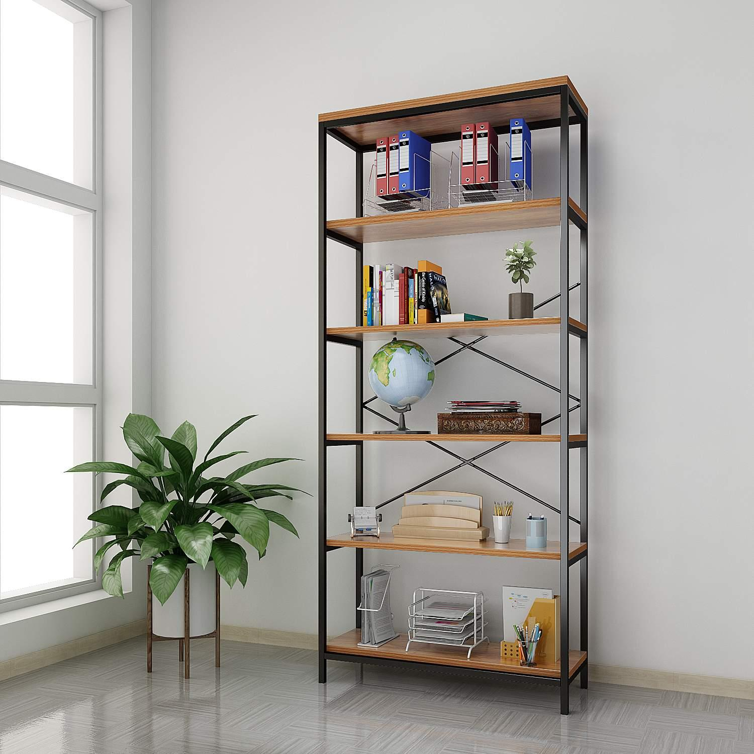 Durable 5-Shelf Vintage Industrial Bookcase, Wood and Metal Rustic Open Bookshelf, 32 '' x 12'' x 71''ECLNK