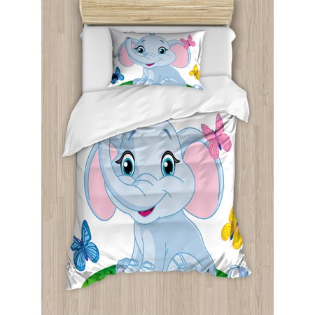 Nursery Twin Size Duvet Cover Set, Cute Baby Elephant Sitting on the Meadow in Spring Time with Butterflies, Decorative 2 Piece Bedding Set with 1 Pillow Sham, Baby Blue Pink Green, by Ambesonne