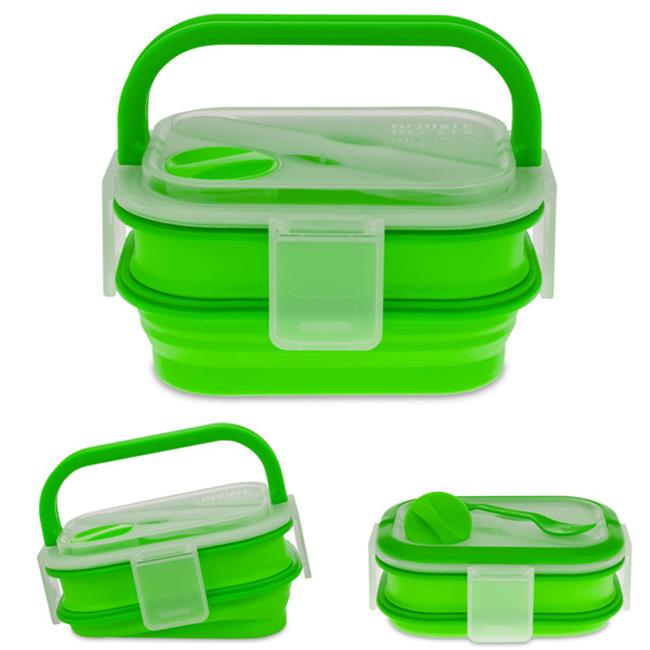 Smart Planet BMK2G 58 oz.  Double Decker Meal Kit - Green