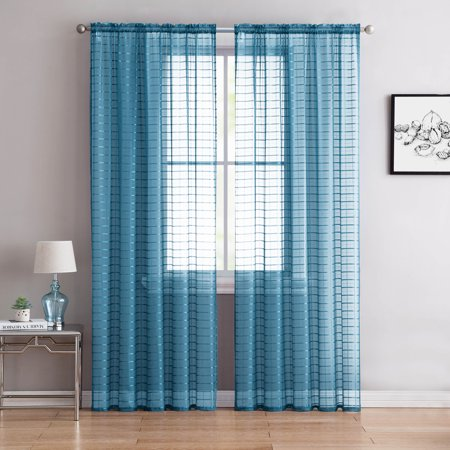 Single (1) Sheer Rod Pocket Window Curtain Panel: 55
