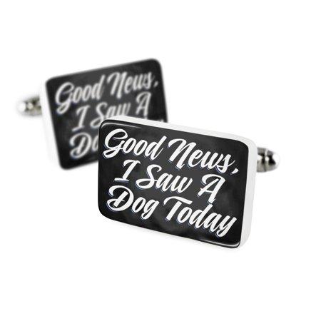 Cufflinks Classic Design Good News  I Saw A Dog Today Porcelain Ceramic Neonblond