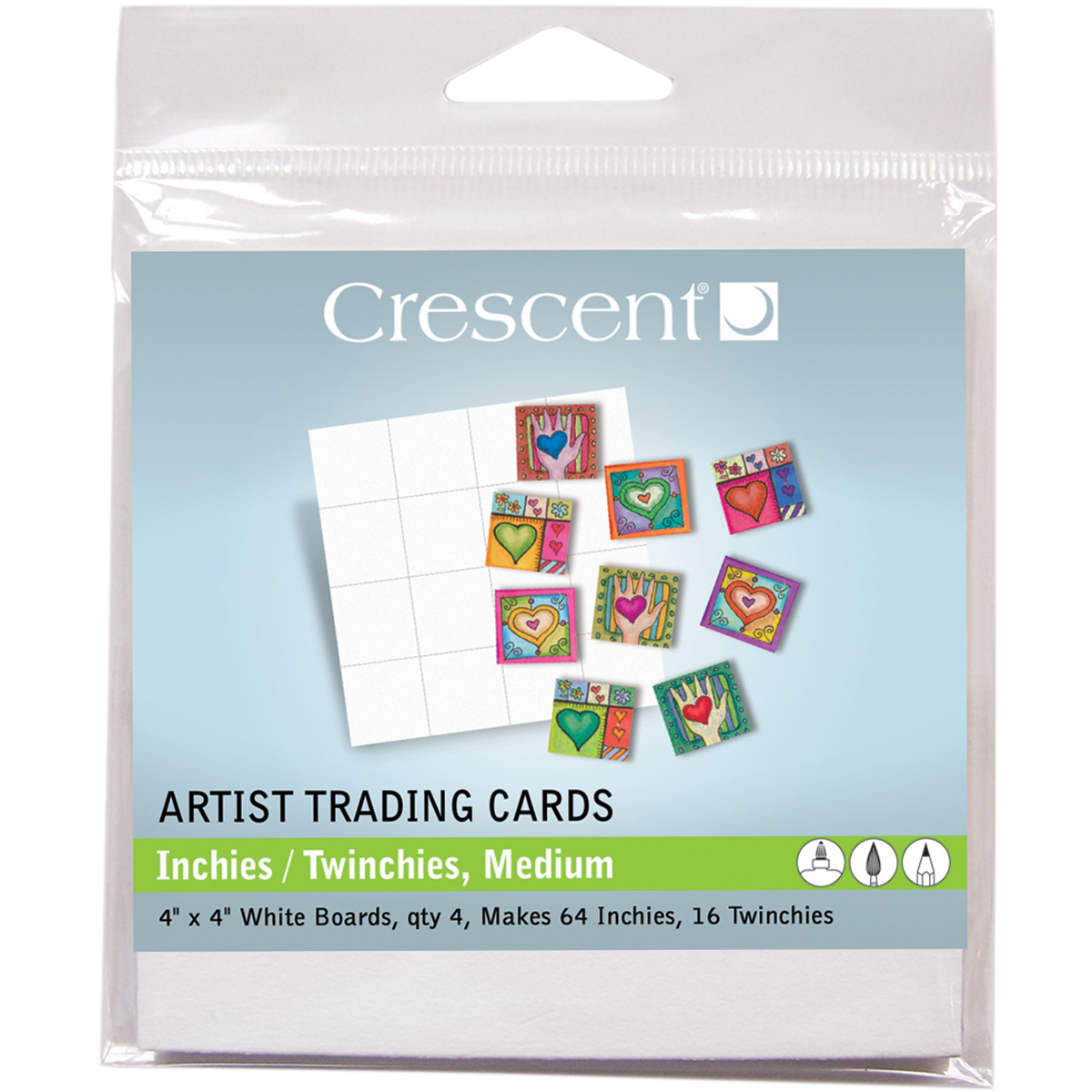 "Crescent Artist Trading Cards 4""X4"" 4/Pkg-Inchies/Twinchies"