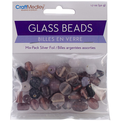 Glass Beads Mix Pack, Silverfoil, Amethyst