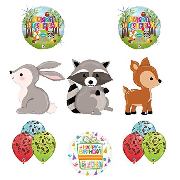 Mayflower Products Woodland Creatures Birthday Party Supplies Balloon Bouquet Decorations Raccoon Deer And Rabbit Walmart Com Walmart Com
