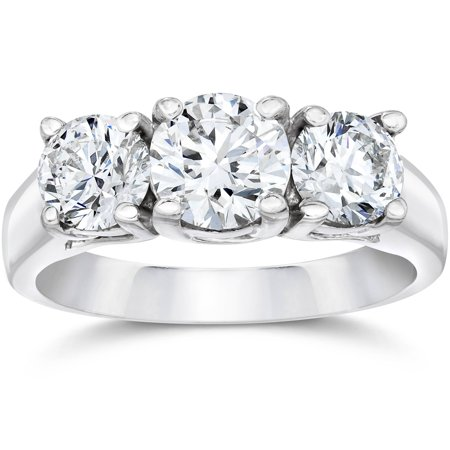 2 Ct Three Stone Enhanced 1Ct Center Diamond Engagement Ring G Si 14K White Gold