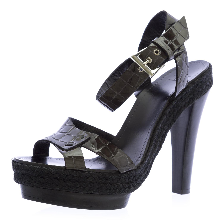 Armani Collezioni Women's Ankle Strap Gray Pumps 10 Black and Gray Strap 7c1346