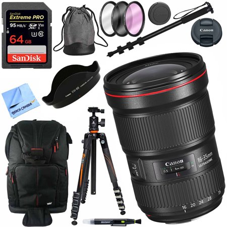 Canon EF 16-35mm f/2.8L III USM Ultra Wide Angle Zoom Full Frame Lens with Vanguard Tripod Plus 64GB Accessories