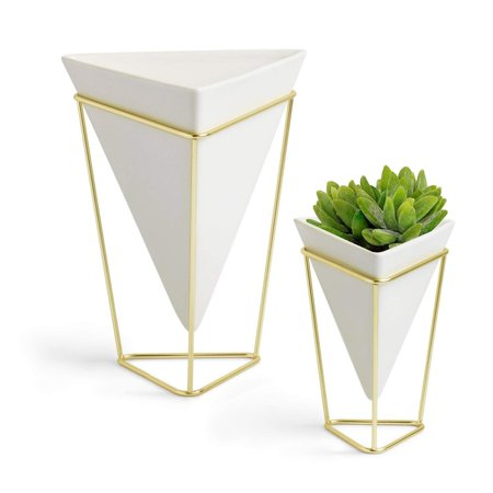 2-Pack White Geometric Vase Set, Big & Small Modern Desktop Planters for Succulents, Small Artificial Plants, Faux Flowers, Cactus Plants & More, Ceramic Planter with Stand, Indoor Desk Plant