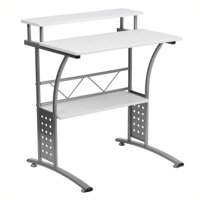 Scranton & Co Computer Desk with Silver Frame in White