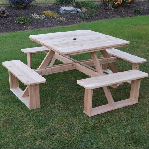 August Grove Law-Simmonds Wooden Picnic Table