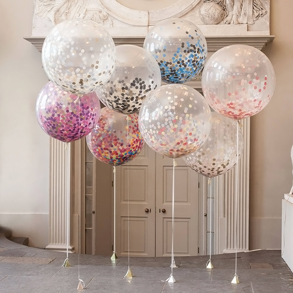 5pcs Colorful Paper Scrap Confetti Balloons Wedding Birthday Party Decoration Transparent Paper Balloons