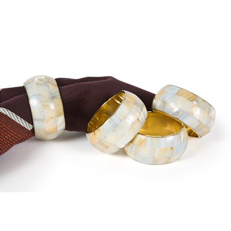 Manor Luxe Mother of Pearl Elegant Rounded Inlay Metal Napkin Ring (Set of 4)