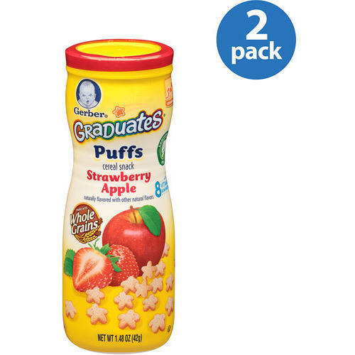 (2 Pack) Gerber Puffs Strawberry Apple, 1.48 oz. Canister