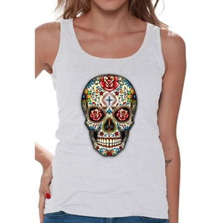 Awkward Styles Rose Eyes Skull Tank Top for Women Sugar Skull Tank Women's Day of the Dead Sleeveless Shirt Dia de los Muertos Gifts for Her Halloween Tank Top Skull Gifts Red Roses Sugar Skull Tank (Halloween Talk)