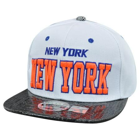 New York City NYC Dark Animal Snake Skin Faux White Snapback Flat Bill Hat  Cap - Walmart.com ec8c35682e6