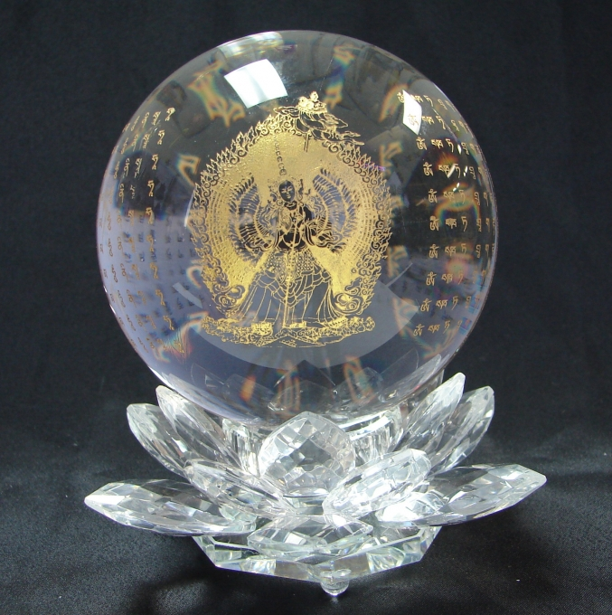 White Umbrella Goddess Crystal Sphere With Lotus Stand