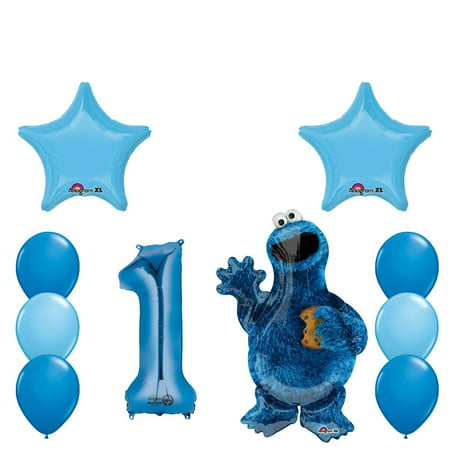 Cookie Monster Balloons (Cookie Monster 1st Birthday Balloons Party Decorations Supplies)