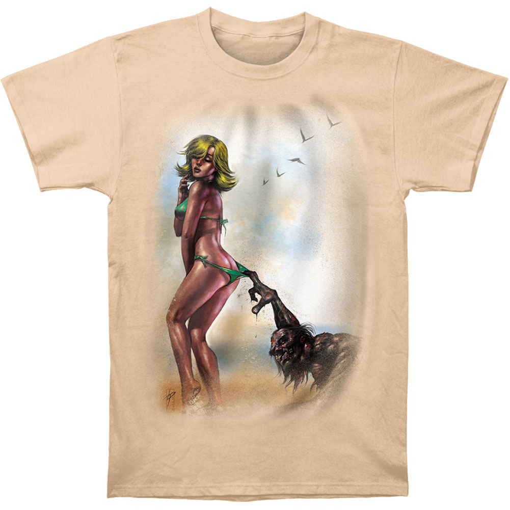 Novelty Men's  Zombie Baby On Beach T-shirt Sand