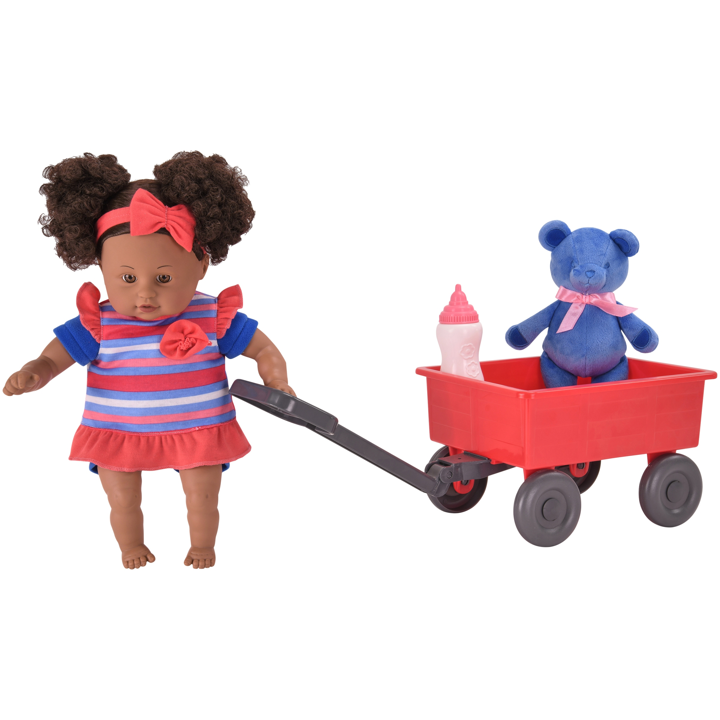"My Sweet Love 13"" 4-Piece Red & Blue Baby Doll and Wagon Play Set"