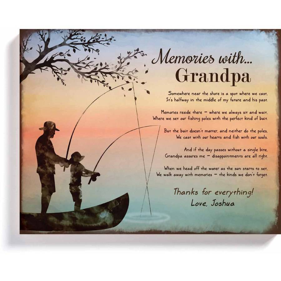 "personalized memories with grandpa 11"" x 14"" wall plaque - walmart, Fishing Rod"