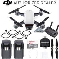 DJI Spark Drone Quadcopter (Alpine White) with Remote Controller, 2 Batteries, Sandisk 32GB Memory Card, Card Reader, Prop Guards, Charger, Bundle Starter Kit