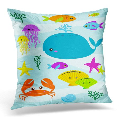 ECCOT Blue Cartoon Various Underwater Creatures Raster Also Available Colorful Sea Pillowcase Pillow Cover Cushion Case 20x20 inch - Colorful Sea Creatures